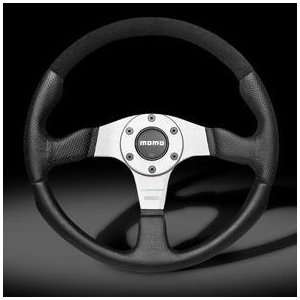 Momo Champion Black Leather & Silver Steering Wheel