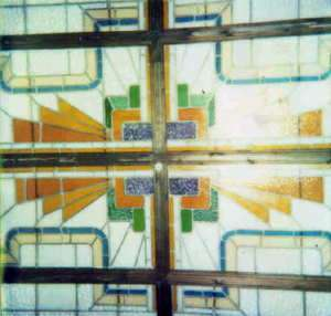 French Art Deco Period 16 Panel Stained Glass Ceiling
