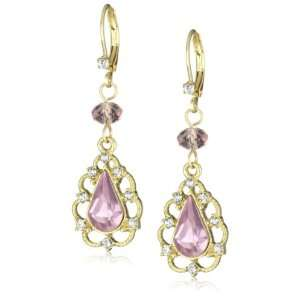 Betsey Johnson Iconic Ombre Rose Crystal Teardrop Drop Earrings