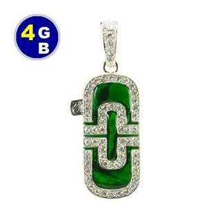 4GB Luxury Emerald with Crystal Jewelry Flash Drive (Green
