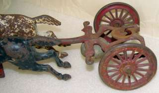 Antique Cast Iron Toy 2 Horse Drawn Fire Pumper Wagon