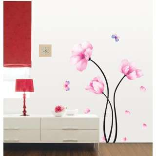 Pink Flower Self Adhesive WALL STICKER Removable Decal