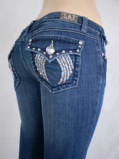 Women Plus Size La Idol Bootcut Jeans Embroidery Crystal Crown Stretch