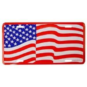 American Flag Waving License Plate Automotive