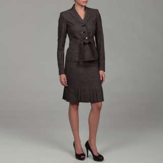 Anne Klein Womens Dark Stone 3 button Skirt Suit