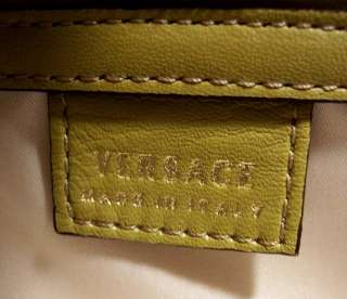 NEW VERSACE Leather Satchel Shoulder Bag Olive Green Gold Hardware