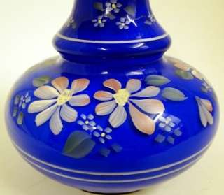 FENTON ART GLASS HP COBALT BLUE OVERLAY VASE w /FLORAL DECOR (FLOWERS