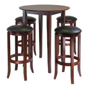 Fiona Round 5 Pieces High  Pub Table Set   winsome wood