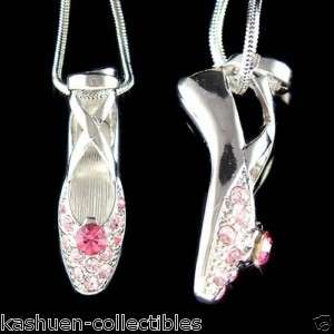 Crystal ~Pink BALLERINA Ballet Dance Shoes Slippers Pendant Necklace