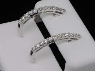 LADIES 14K WHITE GOLD ROUND DIAMOND EARRINGS HOOPS .5CT