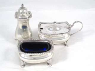 Antique 1926 Hm Sterling Silver & Blue Glass Salt Pepper & Musard Pot
