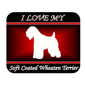 I Love My SoftCoated Wheaten Terrier Dog Mouse Pad   Red