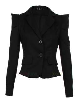 Womens Ladies Fashion Ponte Bold Shoulder Blazer Jacket 8 10 12 14 16