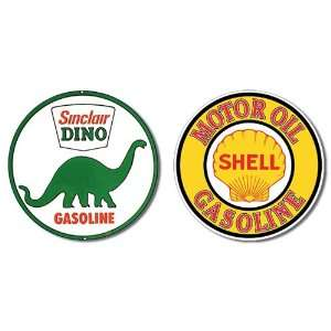 Nostalgic Gas & Oil Tin Metal Sign Bundle   2 round retro