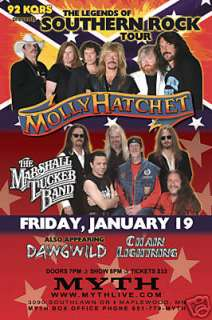 MOLLY HATCHET /MARSHALL TUCKER 2007 CONCERT TOUR POSTER