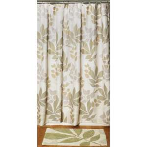 Shadow Leaves 2 Piece Set   Shower Curtain and Rug