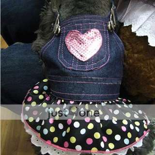 PET DOG APPAREL Clothes Costume Dress DENIM SKIRT XS