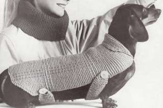 Vintage Knitting PATTERN Dachshund Dog Sweater Coat