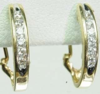 14K SOLID YELLOW GOLD DIAMOND HOOP ESTATE EARRINGS J215054