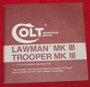 COLT Firearms Factory Trooper Lawman Manual Original 1979