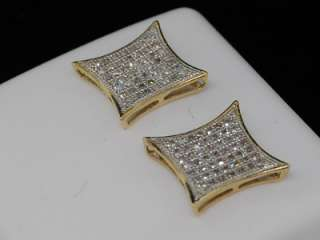 MENS LADIES YELLOW GOLD PAVE DIAMOND KITE STUD EARRINGS