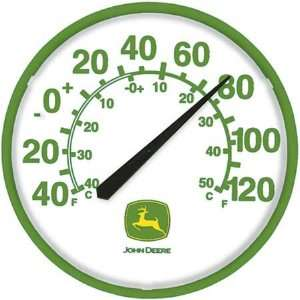 John Deere White and Green Shop Thermometer