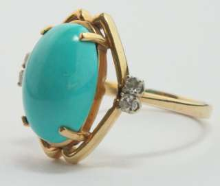 Blue Persian Turquoise 14K Yellow Gold Ring w/ Diamond Accents Size 8