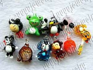wholesale Jewelry 44ps animal murano glass bead pendant