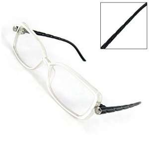 Como Lady Textured Arms Clear Lens Plano Glasses Black
