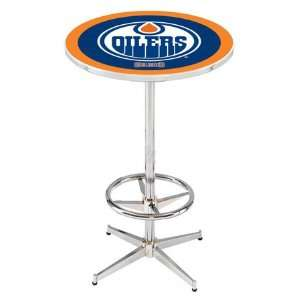 36 Edmonton Oilers Counter Height Pub Table   Chrome Base