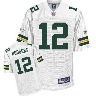 Reebok Green Bay Packers Aaron Rodgers Replica White Jersey