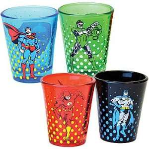 Shot Glasses Set of 4   Superman, Batman, Flash, & Green Lantern