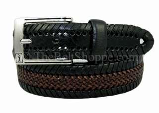 PGA TOUR Mens Black & Brown Braided Leather Belt   Size 34