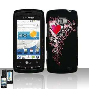 Black with Pink Vine Gothic Heart Rubber Texture Lg Vx740