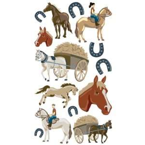 Sticko Puffy Dimensional Stickers horse Ranch 3 Pack