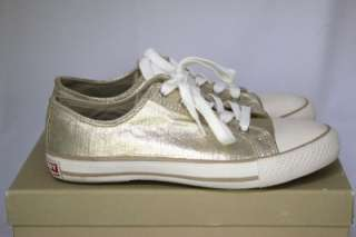 Gold Metallic Canvas Sneakers Flats Shoes SZ 7.5 M US 38 UK NIB