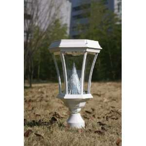 Solar Post Light   Fits 3 Post/Pipe in White Finish