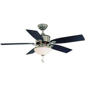 Bay Santa Cruz 52 in. Brushed Nickel with Black Accents Ceiling Fan
