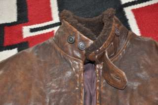 Polo Ralph Lauren DISTRESSED LEATHER & FUR Bomber Jacket L