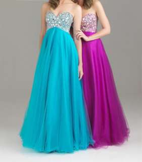 Shinning Strapless Womens Prom Evening Party Long Gown Dress