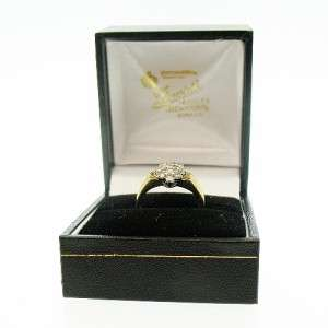 Vintage 1980s 9ct Yellow Gold Diamond Ladies Cluster Ring