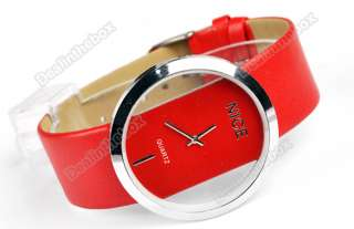 NEWEST Korean Fashion Women PU Leather Transparent Dial Lady