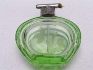 Art Deco Green Cut Glass Etched Flower Perfume Atomizer