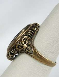LARGE 14k YELLOW GOLD VINTAGE ART DECO ONYX FILIGREE RING~GORGEOUS