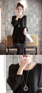 CHIC CREW NECK LONG SLEEVE CHIFFON DRESS 1895