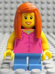 NEW Lego FEMALE MINIFIG GIRL w/Orange Hair & Pink Torso