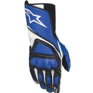Mens Leather Street Bike Racing Motorcycle Gloves   Blue / X Large