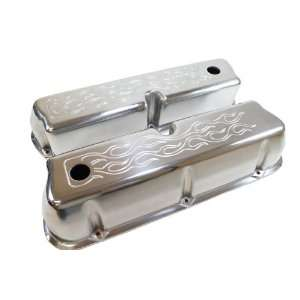 302 351W 5.0L Tall Polished Aluminum Valve Covers   Flamed Automotive