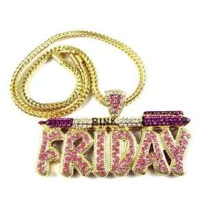 NICKI MINAJ BARBIE Pink Friday Pendant Chain Gold Purple Jewelry