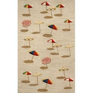 Indoor/Outdoor Hand Tufted Area Rug Beach Umbrella 2 x 3